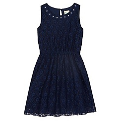 Yumi Girl - Blue Embellished Daisy Lace Dress