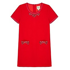 Yumi Girl - Red Embellished Shift Dress