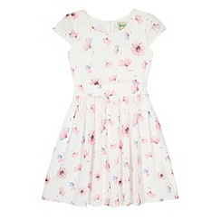 Yumi Girl - Cream Floral Print Dot Dress
