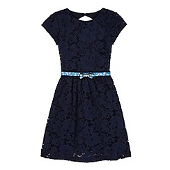 Yumi Girl - Blue Floral Lace Party Dress
