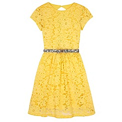 Yumi Girl - Green Floral Lace Party Dress
