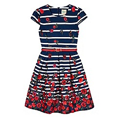 Yumi Girl - Blue Stripe Floral Print Party Dress
