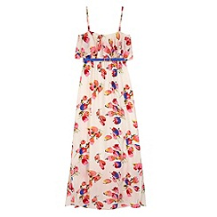 Yumi Girl - Multicoloured  Tulip Print Frill Maxi Dress