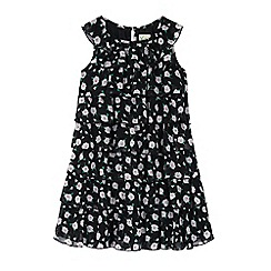 Yumi Girl - Black Floral Print Frill Dress