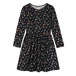 Yumi Girl - Blue Floral Polka Dot Print Skater Dress