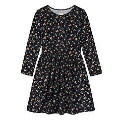 Yumi Girl - Blue Floral Polka Dot Print Skater Dress
