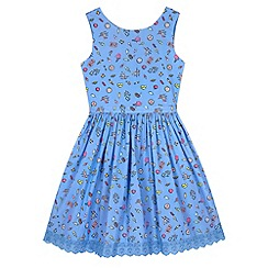 Yumi Girl - Blue Seaside Pier Print Day Dress