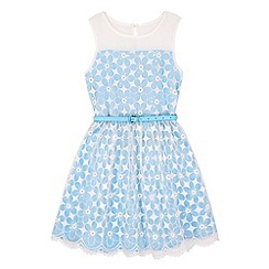Yumi Girl - Blue Embroidered Floral Prom Dress