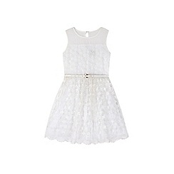 Yumi Girl - White Embroidered Floral Prom Dress