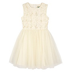 Yumi Girl - Cream Floral Textured Prom Dress