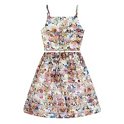Yumi Girl - Multicoloured  Floral Stripe Organza Dress