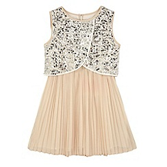 Yumi Girl - Cream Sequin Embellished Pleated Dress
