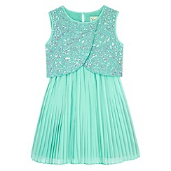 Yumi Girl - Blue Sequin Embellished Pleated Dress