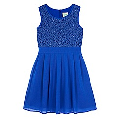 Yumi Girl - Blue Lace Pleated Dress