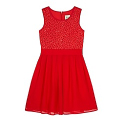 Yumi Girl - Red Lace Pleated Dress