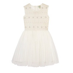 Yumi Girl - WHITE Embellished Crochet Lace Party Dress