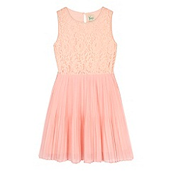 Yumi Girl - Pink Embellished Lace Pleated Dress