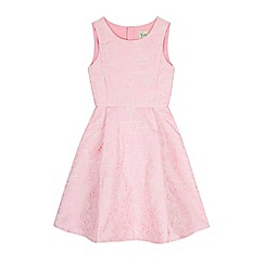 Yumi Girl - Pink Metallic Floral Jacquard Dress