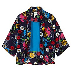 Yumi Girl - Blue Floral Print Kimono and Vest Top Set