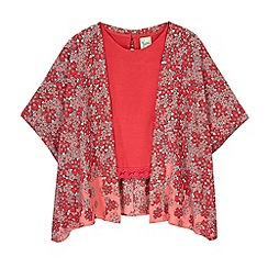 Yumi Girl - Orange Fading Floral Kimono and Crochet Trim Top Set