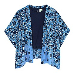 Yumi Girl - Blue Fading Floral Kimono and Crochet Trim Top Set