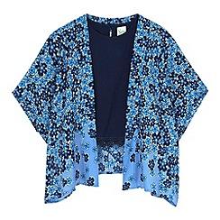 Yumi Girl - Blue Fading Floral Kimono and Crochet Trim Top Set
