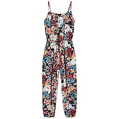 Yumi Girl - Blue Floral Print Jumpsuit