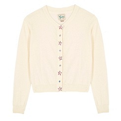 Yumi Girl - Cream Embellished Button Cardigan