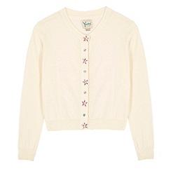 Yumi Girl - Cream Embellished Button Cardigan