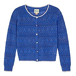 Yumi Girl - Blue Heart Pointelle Cardigan