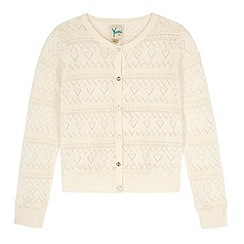 Yumi Girl - Cream Heart Pointelle Cardigan