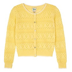 Yumi Girl - Yellow Heart Pointelle Cardigan