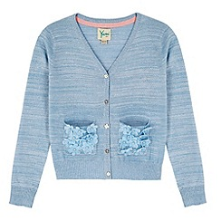 Yumi Girl - Blue 3D Floral Lurex Cardigan