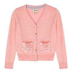 Yumi Girl - Pink 3D Floral Lurex Cardigan
