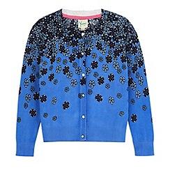Yumi Girl - Blue Fading Floral Print Cardigan