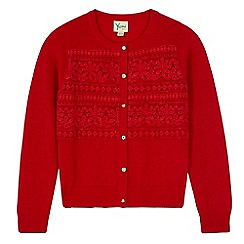 Yumi Girl - Red Lace Applique Cardigan