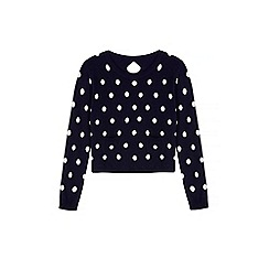 Yumi Girl - Blue Polka Dot Print Jumper