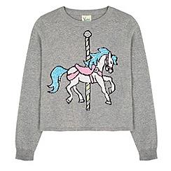 Yumi Girl - Grey Carousel Horse Print Jumper