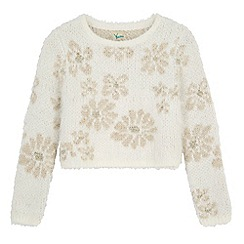 Yumi Girl - Cream Mixed Yarn Floral Print Jumper