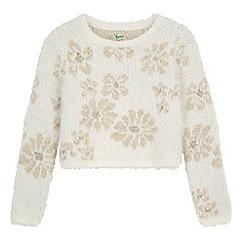Yumi Girl - Cream Mixed Yarn Floral Print Jumper
