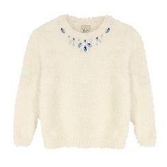 Yumi Girl - Cream Embellished Fluffy Jumper