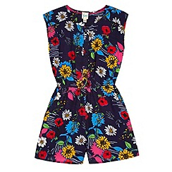 Yumi Girl - Blue Scribble Floral Print Playsuit