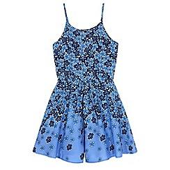 Yumi Girl - Blue Floral Print Playsuit