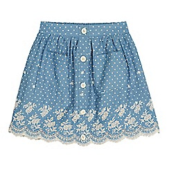 Yumi Girl - Blue Broderie Anglaise Polka Dot Print Skirt