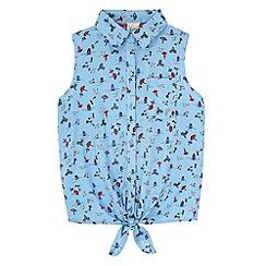 Yumi Girl - Blue Seaside Print Shirt Tie Top