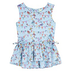 Yumi Girl - Blue Bunting Print Peplum Top