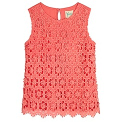 Yumi Girl - Pink Embellished Crochet Lace Top