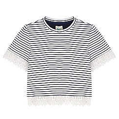 Yumi Girl - Blue Crochet Lace Stripe Print T-Shirt