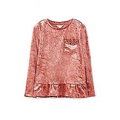 Yumi Girl - Pink velvet frill hem top