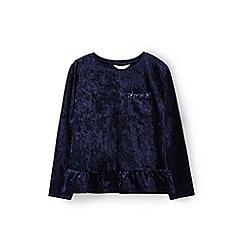 Yumi Girl - Blue velvet frill hem top